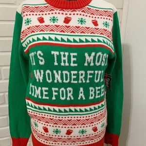 NWT Ugly Christmas Sweater S WONDERFUL TIME  BEER
